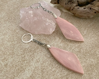 Pink Opal Earrings | natural wing earth stone jewelry