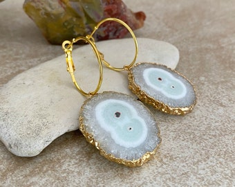 Icy Stalactite Earrings | natural raw solar quartz in gold jewelry