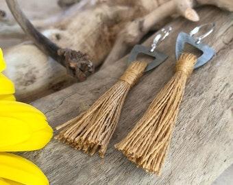 Gold Tassel Earrings | hand spun linen fiber | color therapy