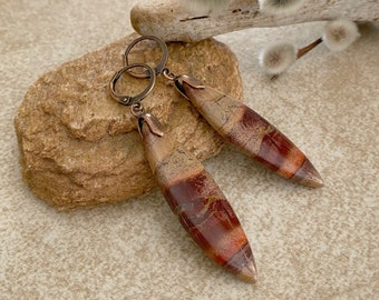 River Stone Jasper earrings  | natural red earth jewelry