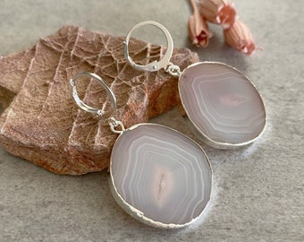 Peach - Gray stone Earrings | natural banded agate jewelry