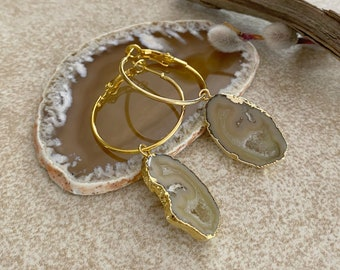Neutral Quartz Agate earrings | natural stalactite in gold jewelry