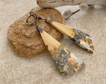 Jasper Stone earrings | Maligano natural earth jewelry