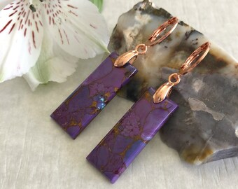 Mohave Turquoise Earrings   purple copper turquoise earth stone jewelry
