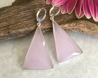 Triangle Rose Quartz earrings in 925 sterling silver