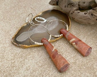 Natural Red River Jasper earrings | earth stone jewelry