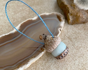 Acorn Ornament with Larimar stone | oak tree lovers gift