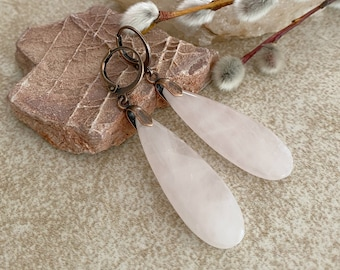 Rose Quartz Earrings | natural pink stone jewelry
