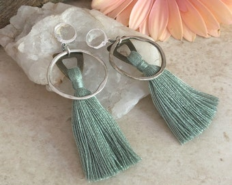 Omímeya Tassel earrings in sage green organic linen | hammered silver circle hoop