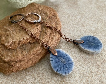 Blue Coral stone Earrings | natural indigo earthy jewelry