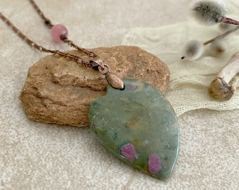 Natural Ruby in Zoisite Necklace | earth stone jewelry