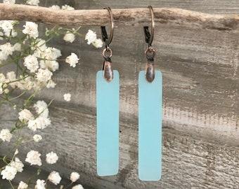 Aqua Sea Glass earrings | simple blue bar jewelry