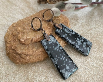 Snowflake Obsidian Earrings | natural earth stone jewelry