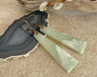Natural Nephrite Jade earrings | pastel green stone jewelry
