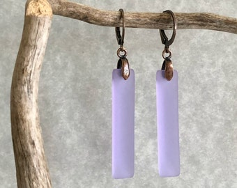 Lavender Bar Sea glass earrings | simple cultured beach jewelry