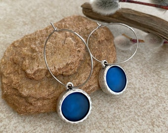 Cultured Indigo Sea glass earrings  in antique silver bezel sets
