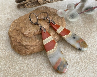 Natural Red River stone earrings | jasper earth stone jewelry