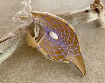 Lavender Dream Catcher milkweed seed pod talisman