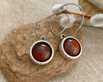 River Jasper Earrings | red stone jewelry in antique silver bezel sets