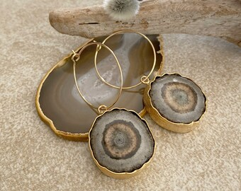 Natural Stalactite Earrings | raw geode crystal jewelry