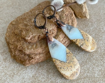 Earth and Sky Earrings | natural blue brown inlay stone jewelry