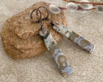 Ocean Jasper Earrings | natural fossil earth stone jewelry