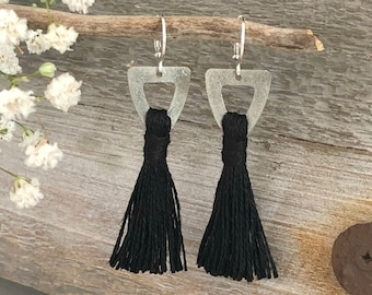 Black Tassel Earrings | organic linen in pewter jewelry