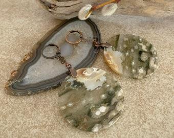 Orbicular Ocean Jasper earrings   natural stone jewelry