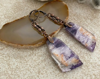 Amethyst Earrings | raw ultra violet crystal jewelry