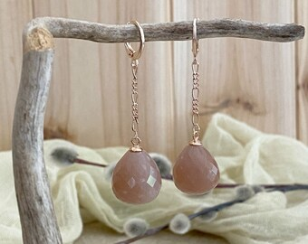 Sunstone Earrings in rose gold | natural iridescent earth stone jewelry