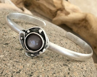 Moonstone Cuff Bracelet in antique brushed silver over brass | chocolate brown