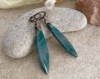 Zen Mountain Jade earrings | natural stone earthy jewelry