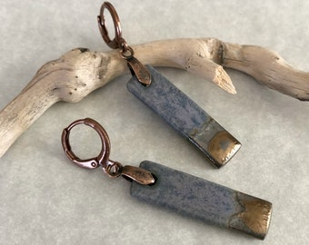 Earthen Stoneware Earrings   textured porcelain clay stone jewelry