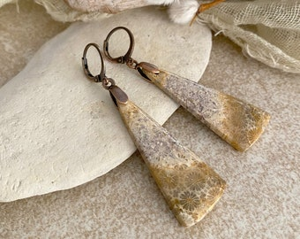 Fossil Coral earrings | natural Petoskey earth stone jewelry