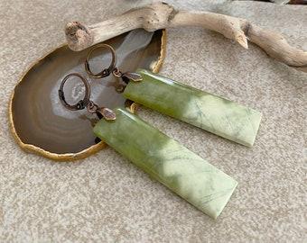 Serpentine Jade Earrings | natural lime green earth stone jewelry
