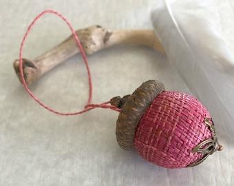 Raspberry Pink Acorn ornament | natural hemp with real acorn cap