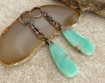 Chrysoprase Dangle Earrings | natural mint stone earrings