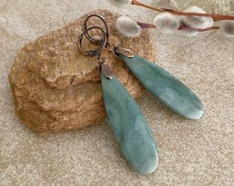 Natural Mountain Jade earrings | zen stone earthy jewelry