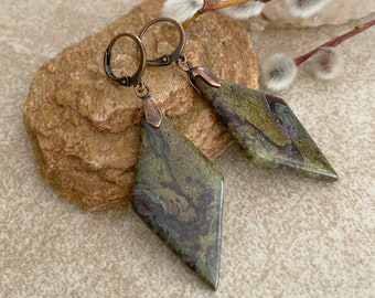 Natural Dragons Blood earrings | jasper earth stone jewelry