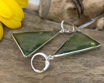 Triangle Green Amethyst earrings in 925 sterling silver
