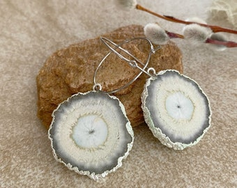Natural Geode Agate earrings   raw stalactite in silver jewelry