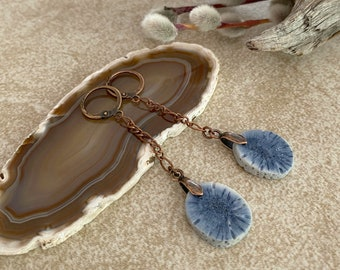 Fossilized Blue Coral stone earrings | natural indigo earthy jewelry