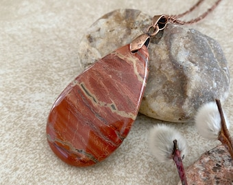 River Jasper Necklace | natural red earth stone jewelry