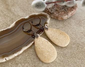 Honey Agate Earrings   natural earth stone jewelry