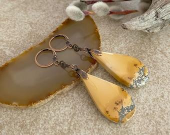 Golden Maligano Jasper earrings | natural earth stone jewelry