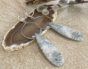Snow Mountain Jasper earrings   natural earthy stone jewelry
