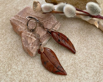 Mahogany Obsidian Earrings | natural carved leaf stone jewelry