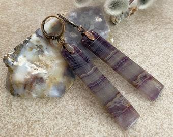 Purple Fluorite Earrings | natural earth stone jewelry