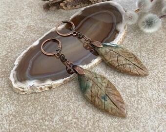 Green Opal Leaf earrings | natural earth stone jewelry