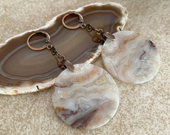 Full Moon Agate earrings | crazy lace stone jewelry
